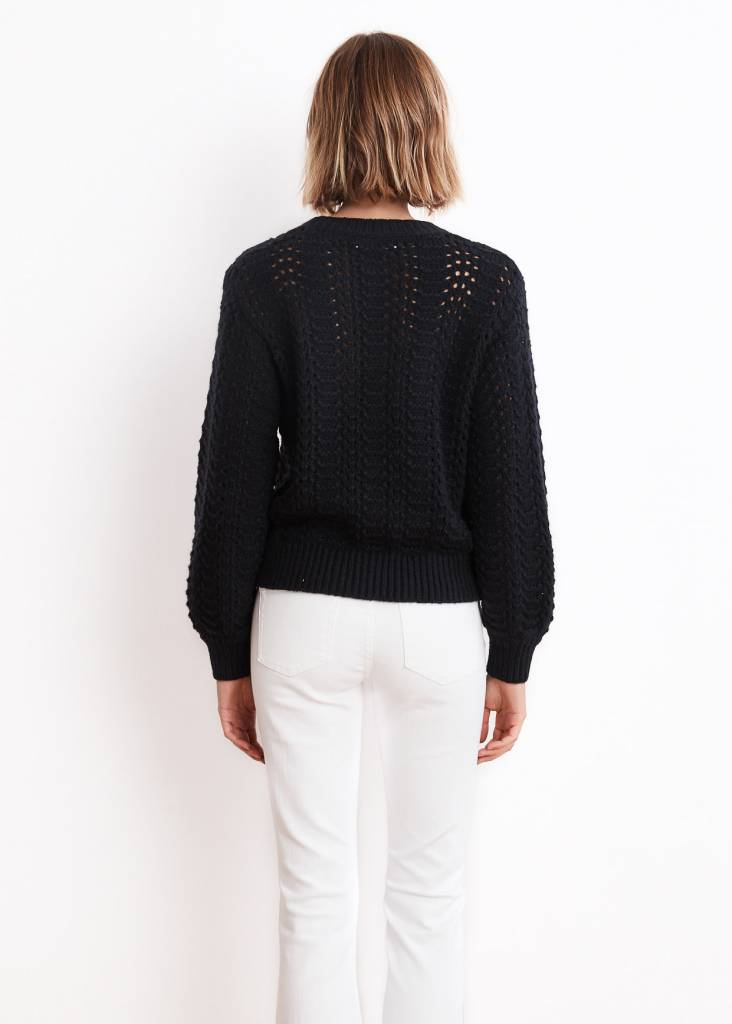 VELVET Cersei lace stitch puff sleeve sweater
