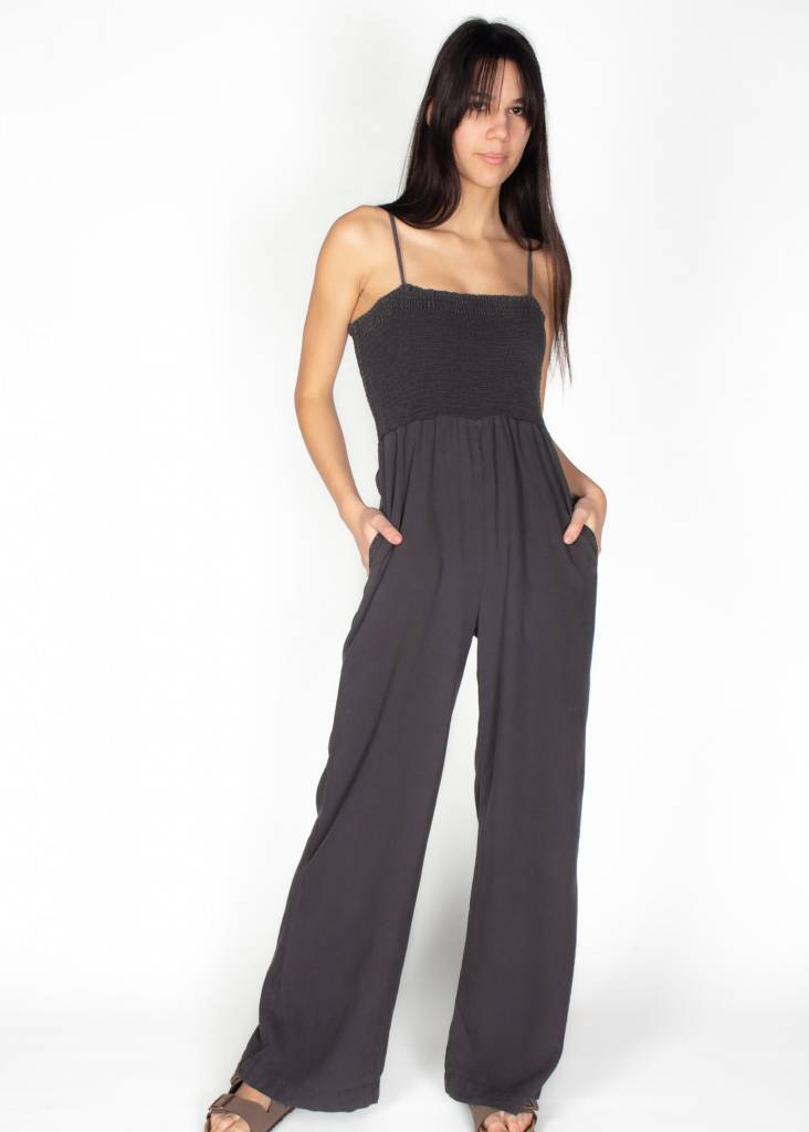 ELASTIC SHIRRED JUMPSUIT
