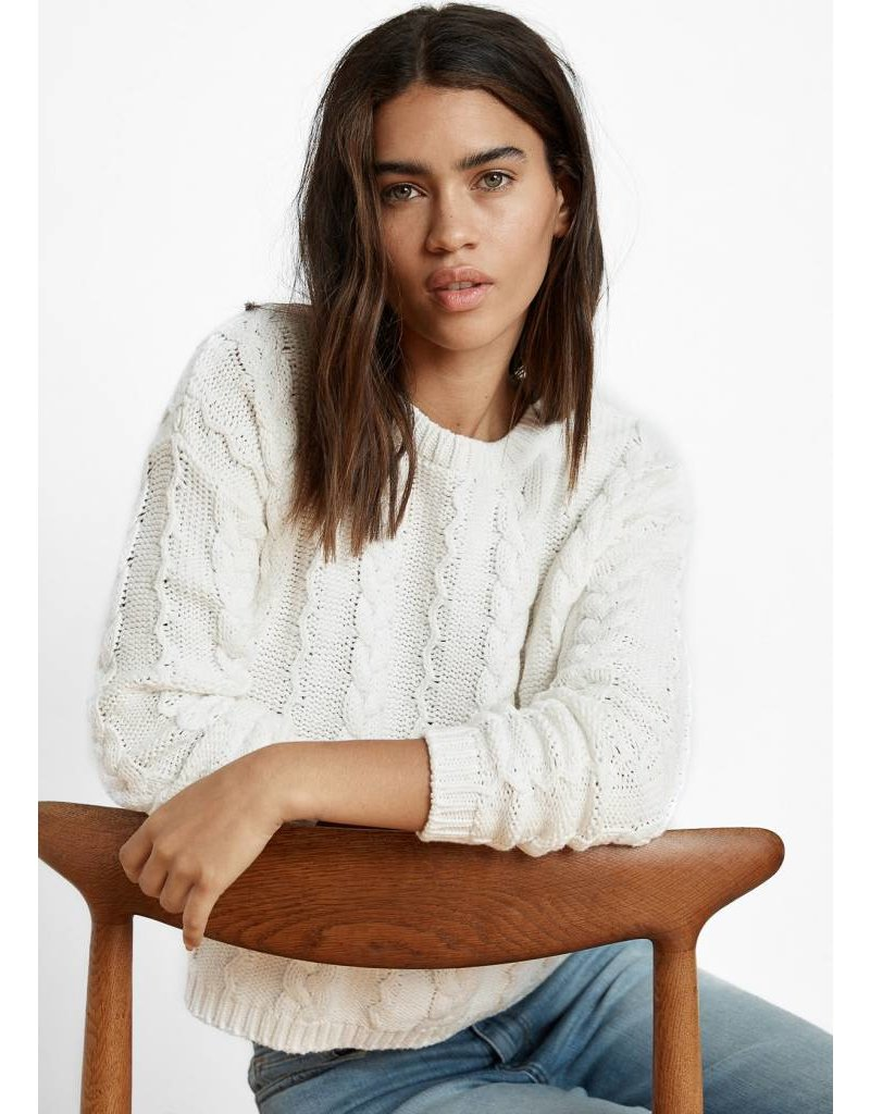 VELVET ARELY COTTON CABLE PULLOVER SWEATER