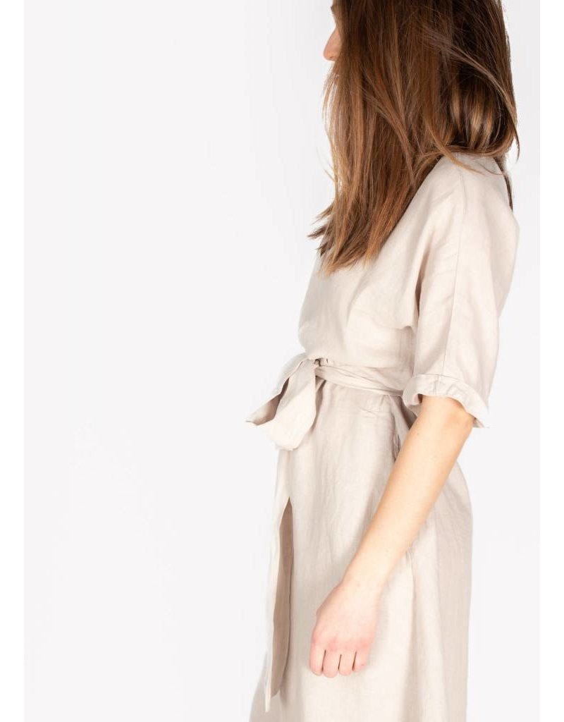 VELVET WINLEY WOVEN LINEN TIE-UP DRESS