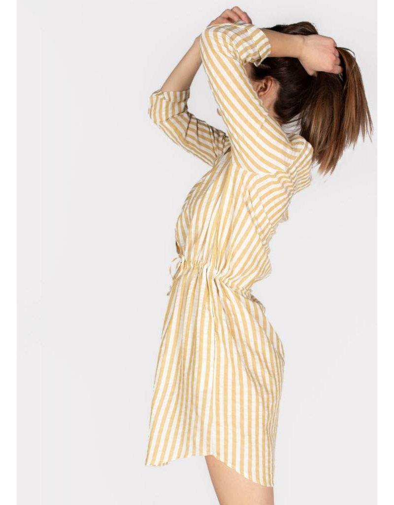 LACY STRIPE WOVEN TIE-WAIST DRESS