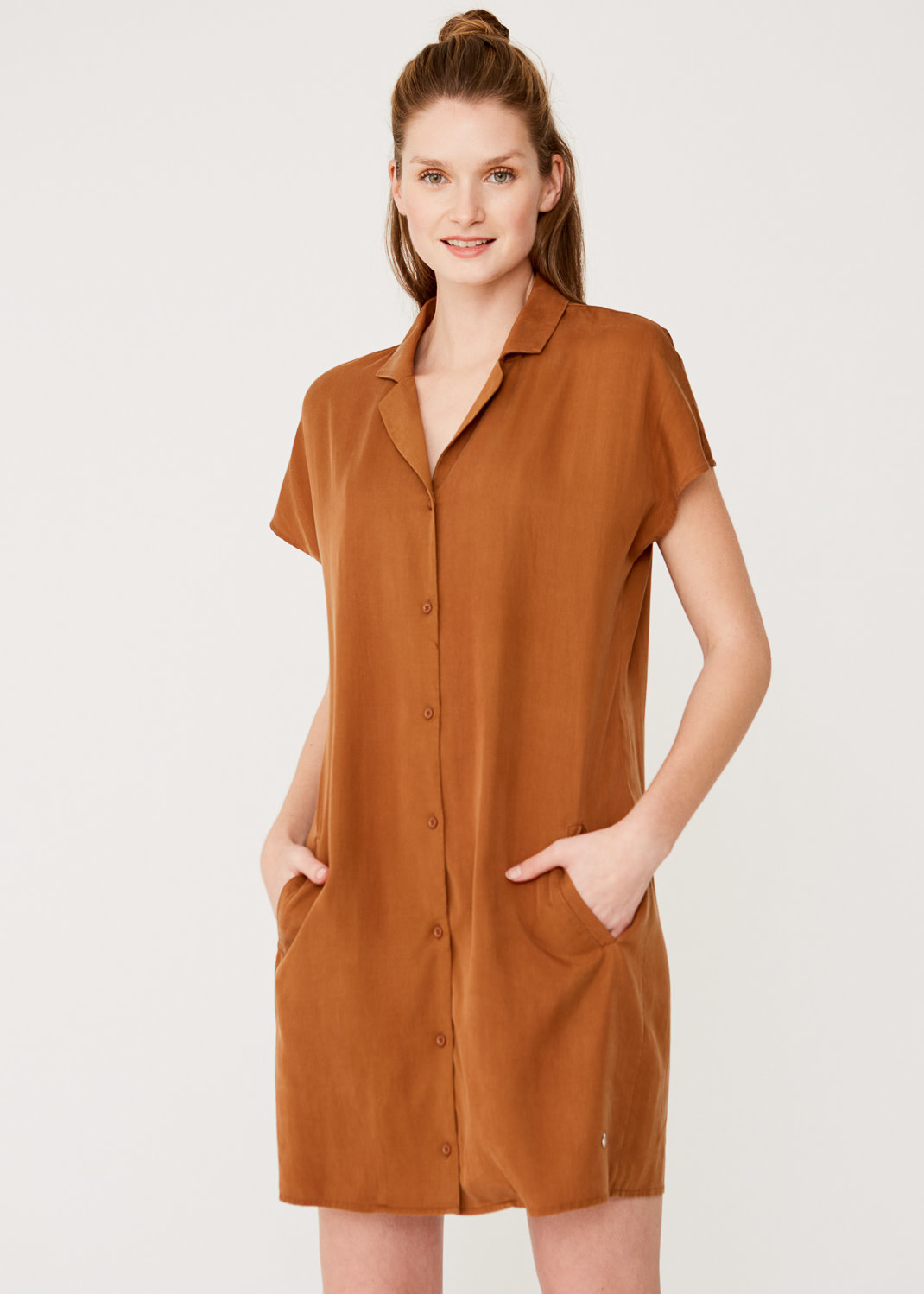 YERSE SHIRT DRESS WITH SHORT SLEEVE