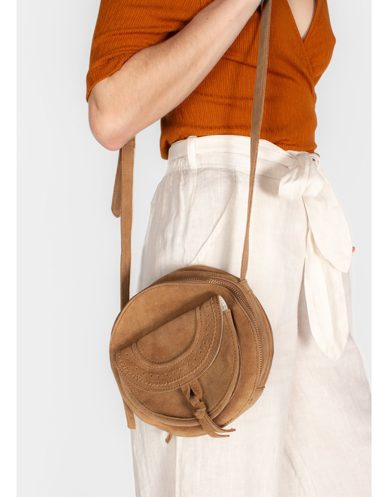 YAYA Small suede shoulder bag