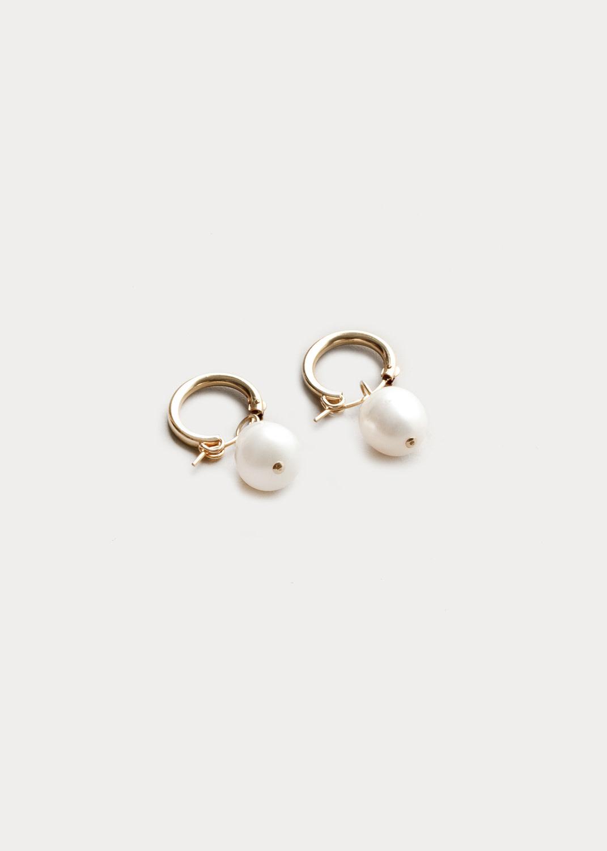 Pearlhoop small freshwater pearl hoop gold plated