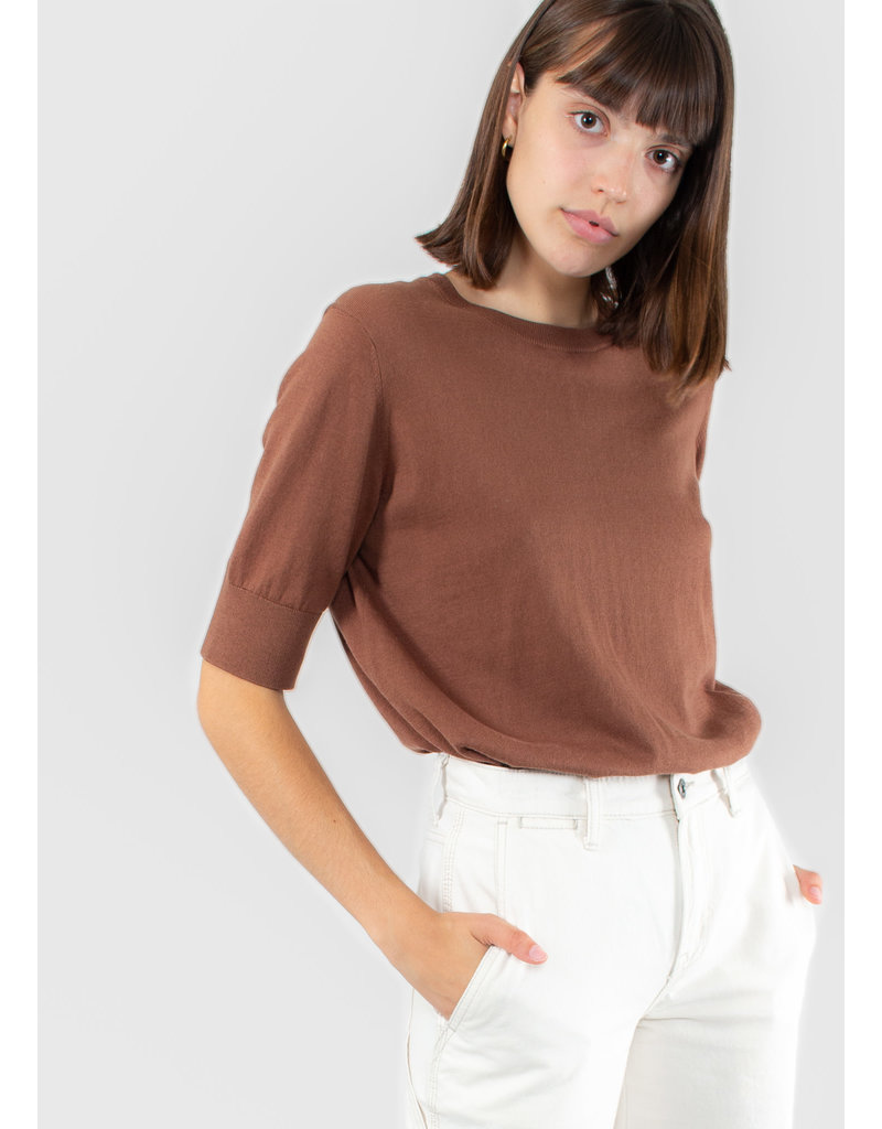 YAYA Fine knitted sweater with short sleeves