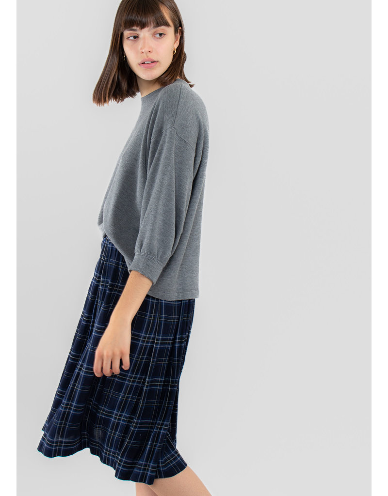 VELVET Lucille Rayon plaid skirt