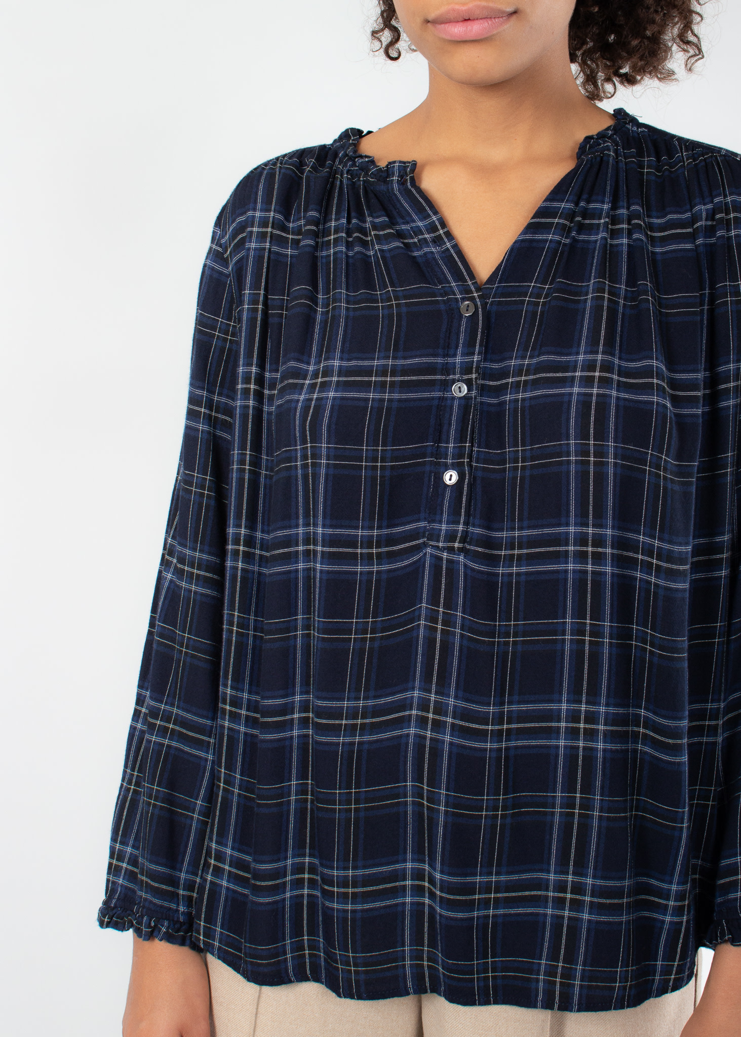VELVET Lauren Rayon plaid button top