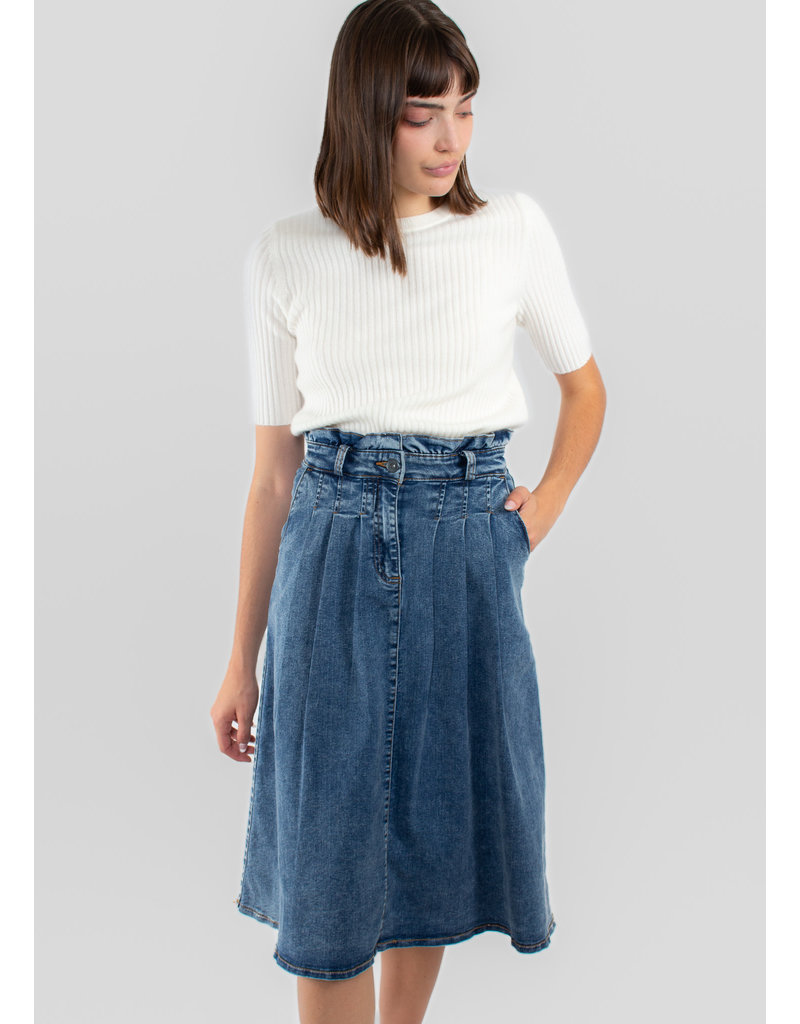 ICHI Bita skirt medium blue denim