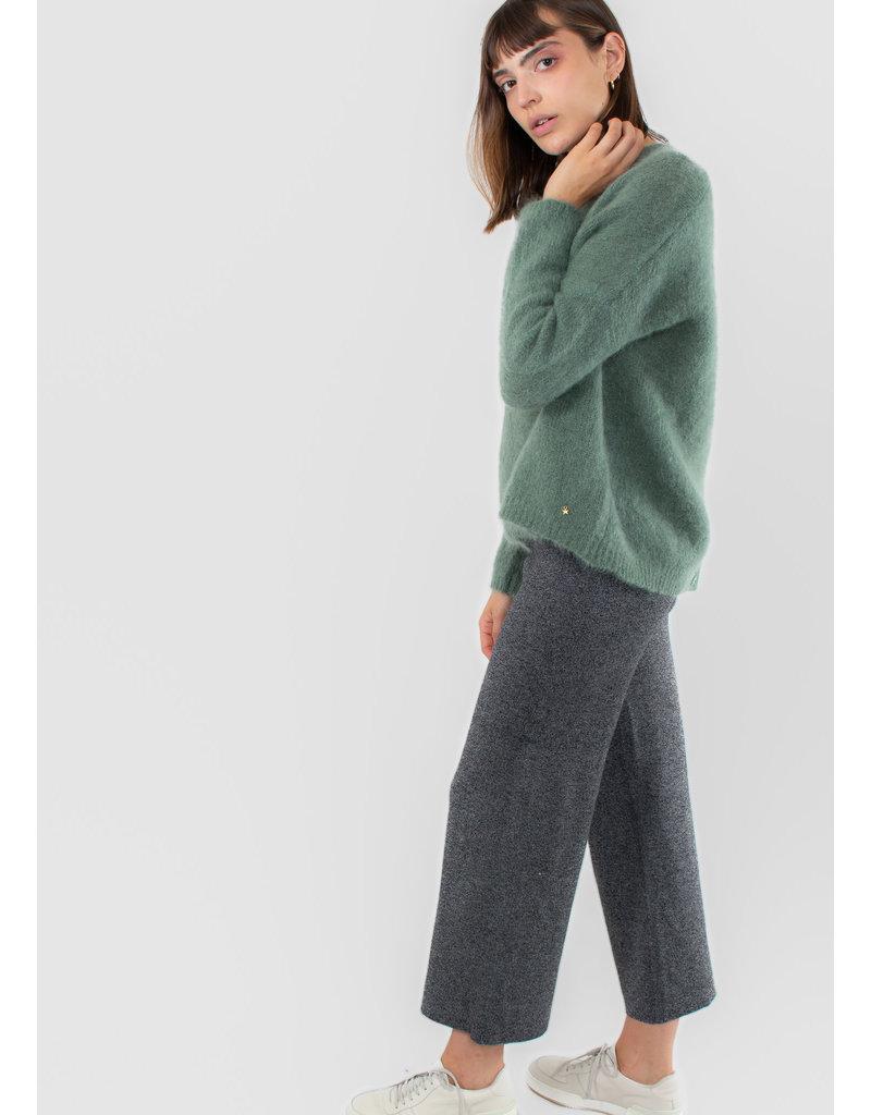 NICE THINGS Plain knit pants dark grey melange
