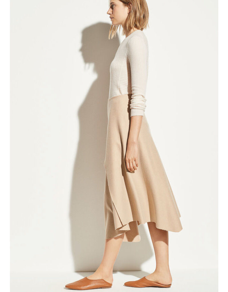 Asymmetric drape skirt desert clay