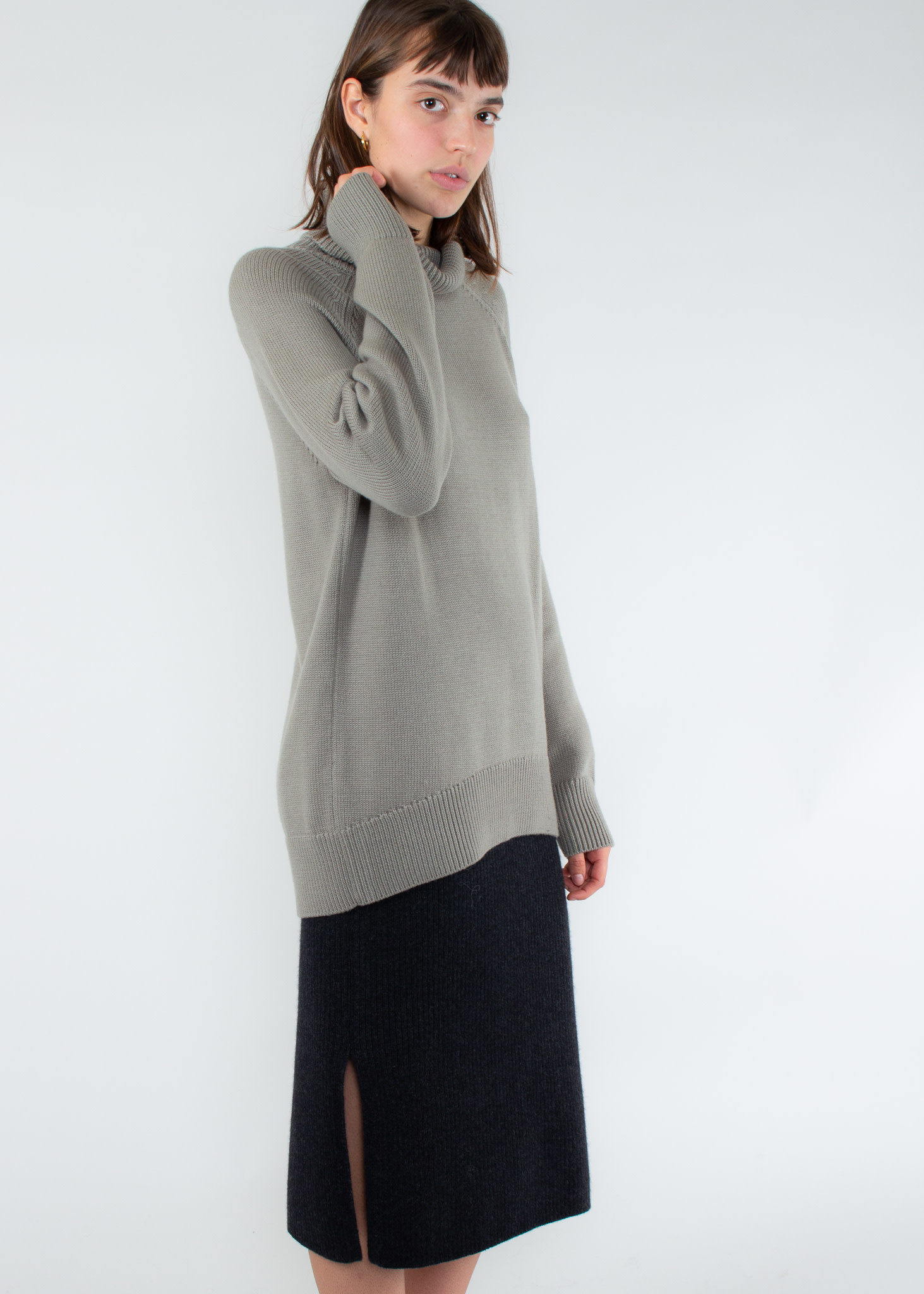 ASSEMBLY LABEL Ribbed Roll Neck Knit Sea Grass