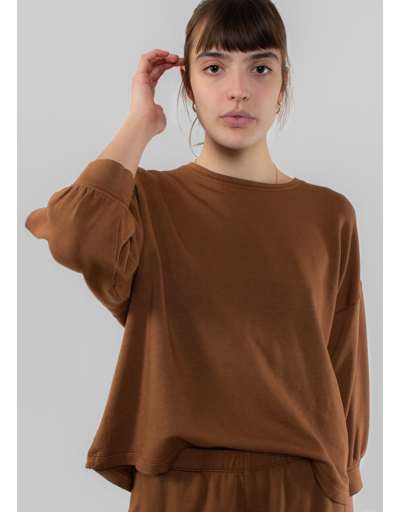 VELVET Rumer fleece 3-4 slv top sahara