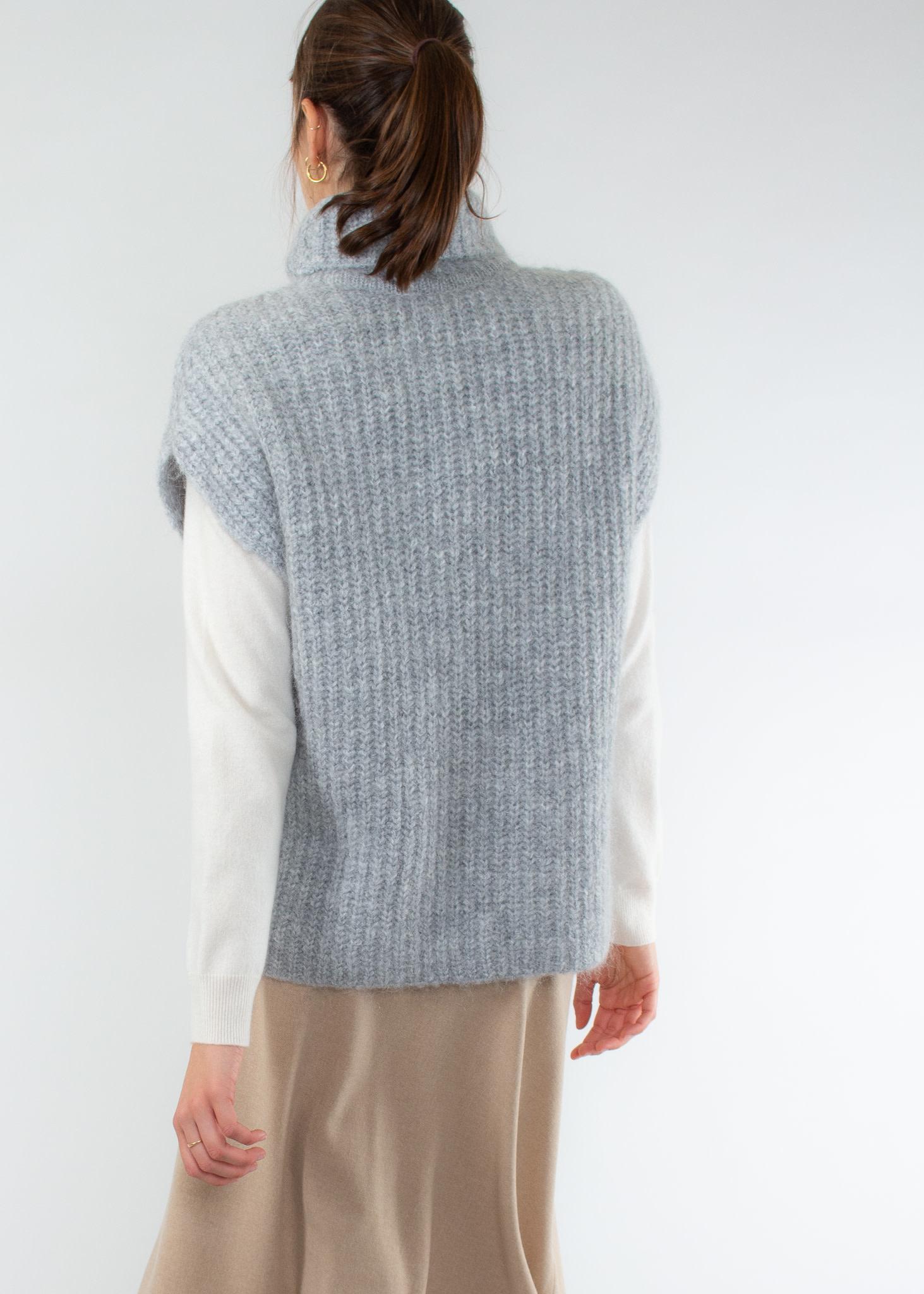 YAYA Throw over knit short poncho