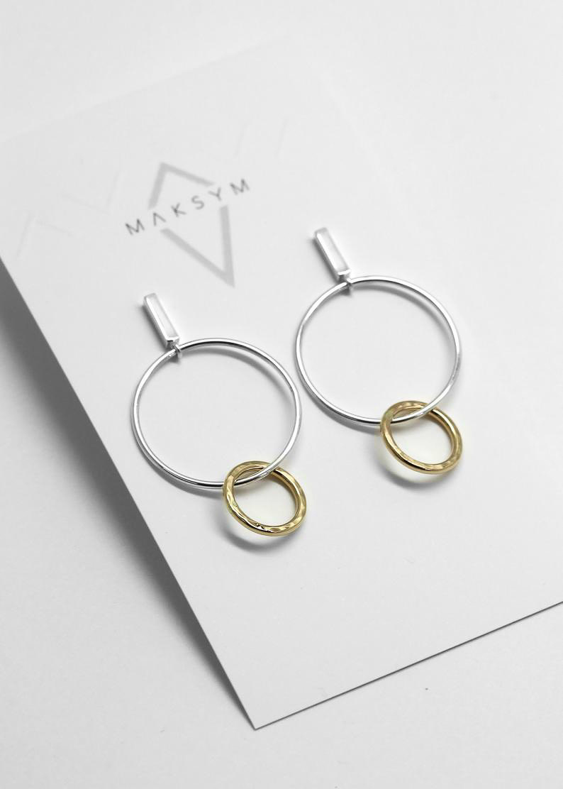 MAKSYM 2 tones bar + loop earrings