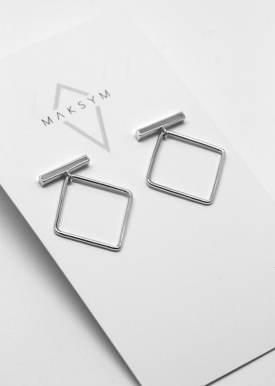 MAKSYM Bar + square earrings - Square hoops studs - Sterling silver