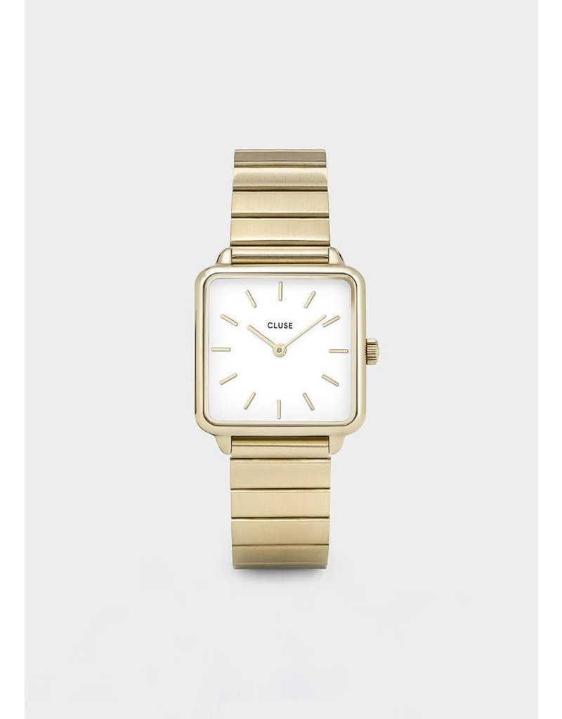 CLUSE La tétragone single link gold-white watch