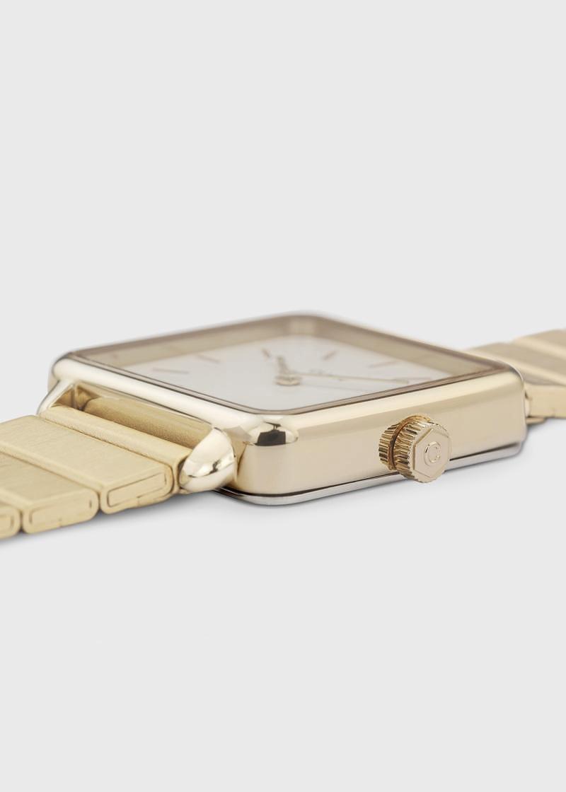 CLUSE La tétragone single link gold-white watch