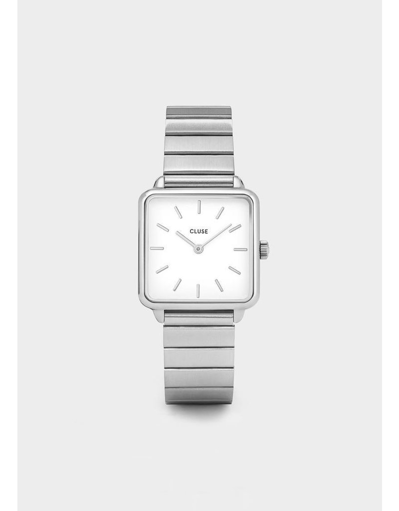 CLUSE La tétragone single link silver-white watch