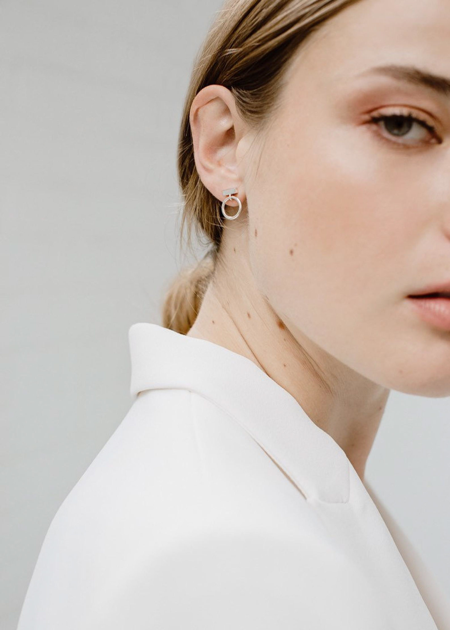 MAKSYM Bar + loop studs - Sterling silver