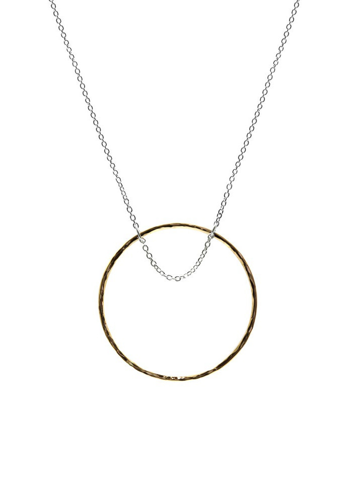 MAKSYM Gold hoop + chain necklace - Hammered gold loop necklace