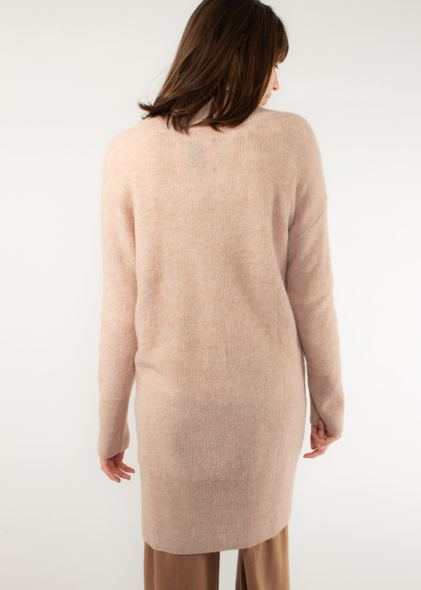 YAYA Rib knit dress with v-neck