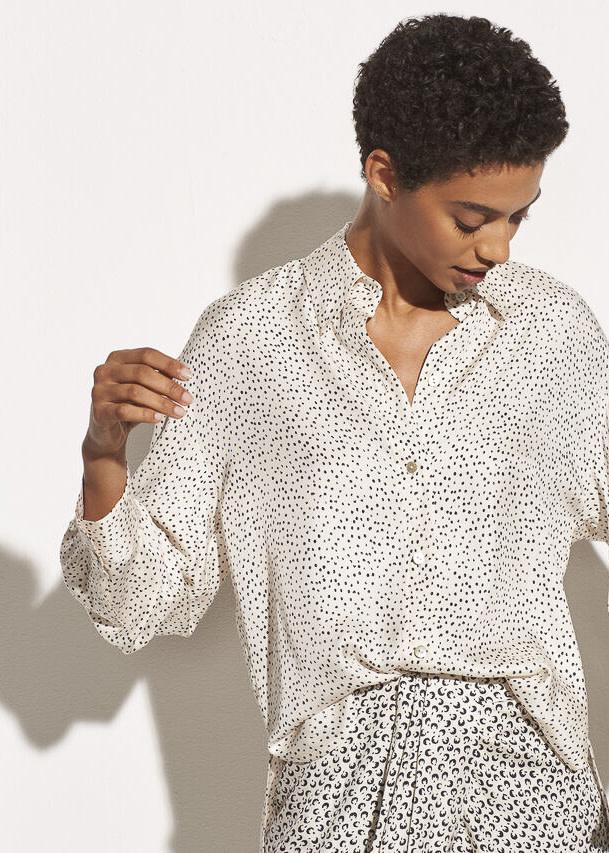 Ditsy dot ls blouse