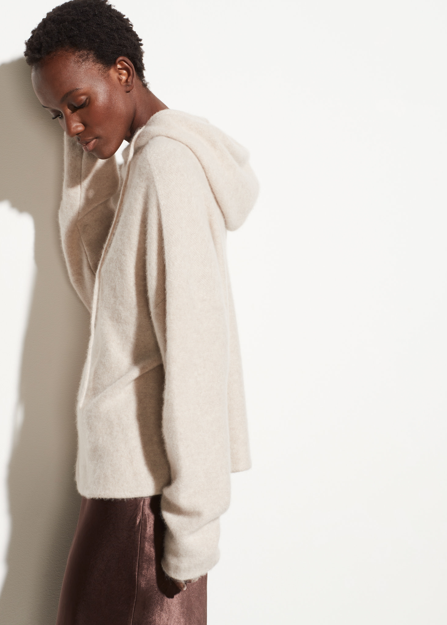 Clean edge cashmere hoodie
