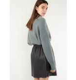 YAYA Faux leather mini skirt with pleats