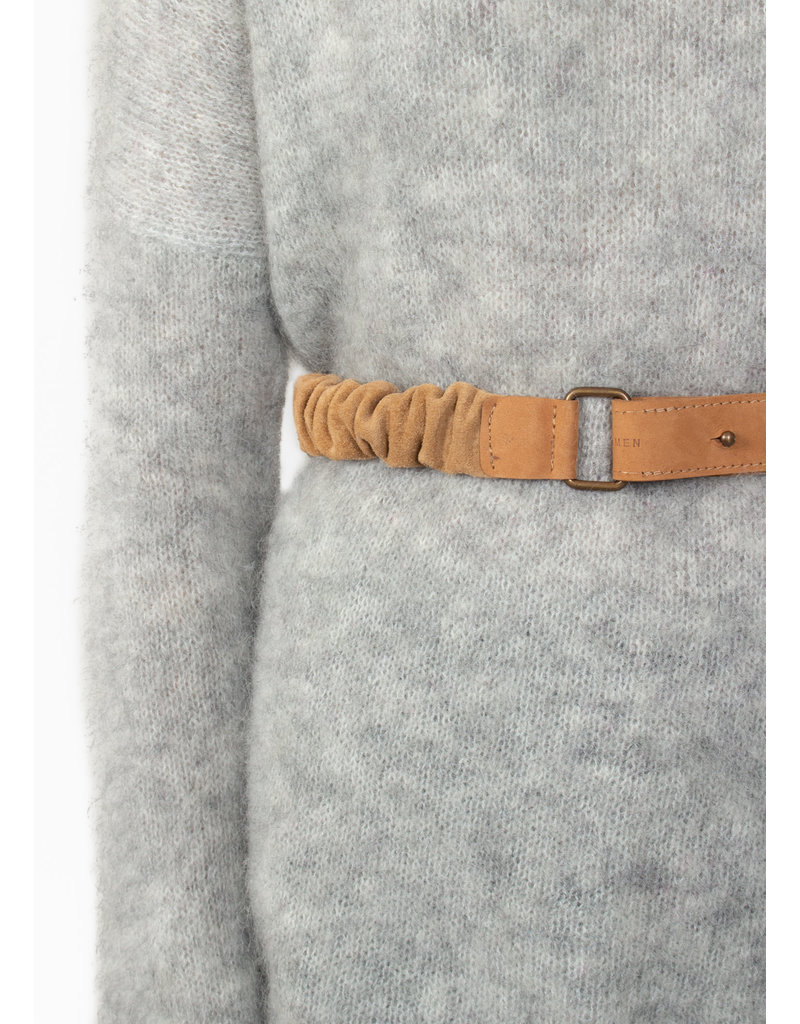 YAYA Suede belt with ruffles