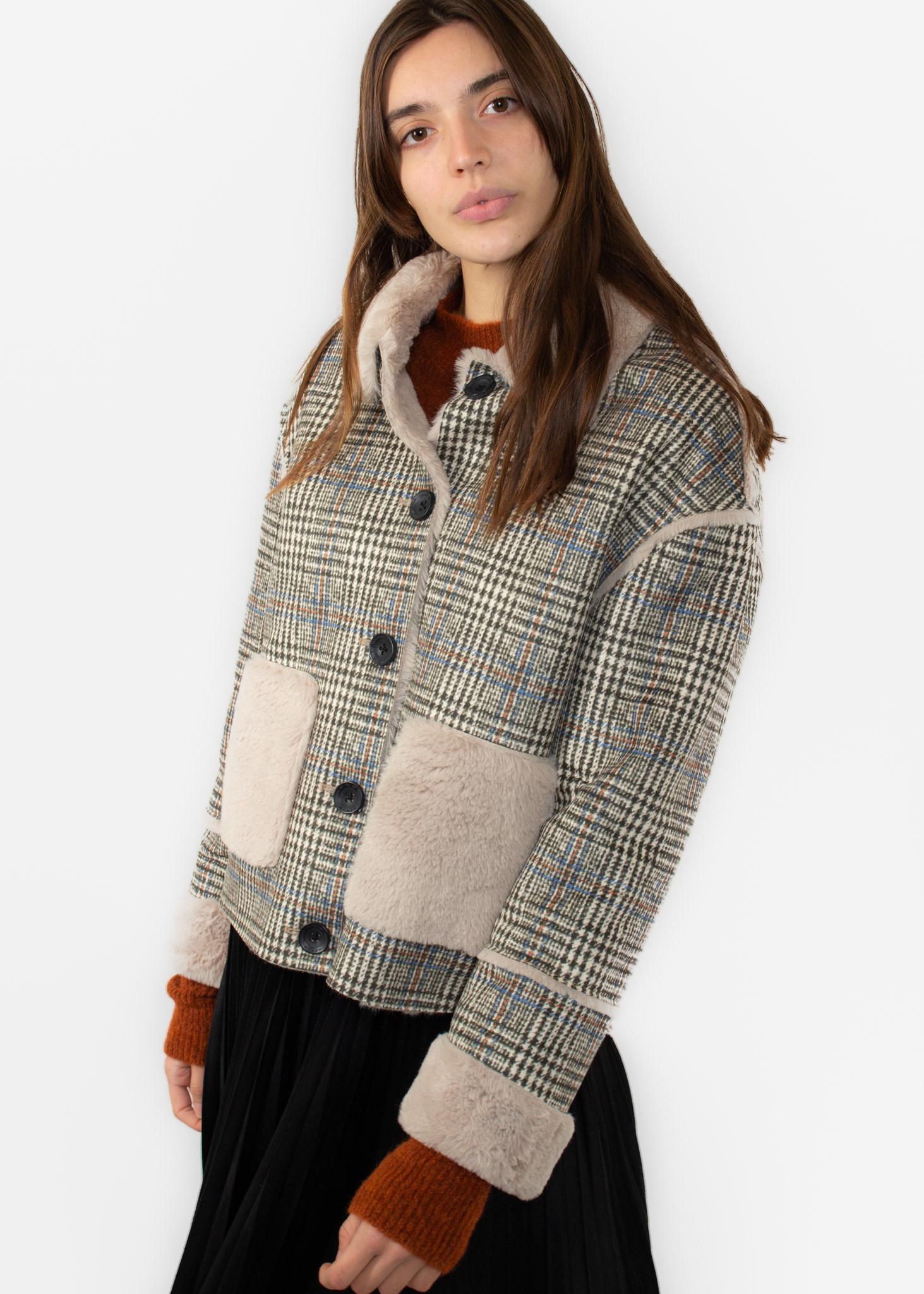 YAYA Lammy coat with checks