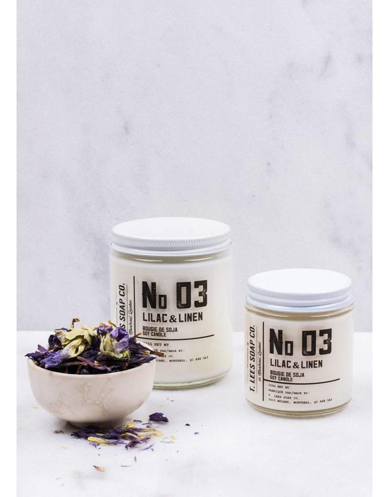 T.Lees No.3 lilac & linen soy candle