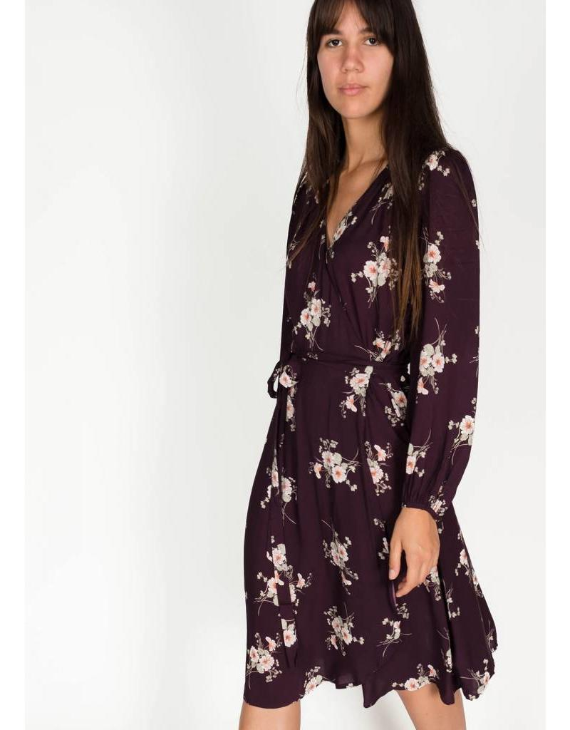 PRINTED CHALLIS WRAP DRESS