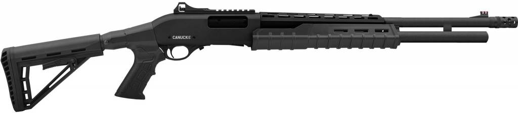 "Canuck Canuck Sentry Pump Action Shotgun, 12 Gauge, 3"" Chamber, 8 Rounds, 24"" Barrel, 3 Mobile Chokes, Fibre Optic Front Sight, Telescopic Stock, Black"