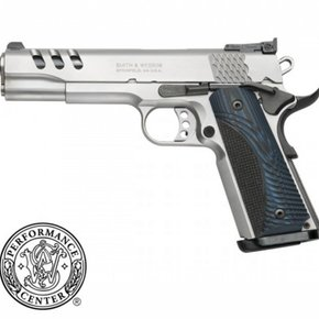 "Smith & Wesson Smith & Wesson 1911 Performance Center Semi-Auto Pistol, .45 ACP, 5"" Barrel, Wood Grips, Stainless Finish, 8 Rounds, Glass Bead Finish"
