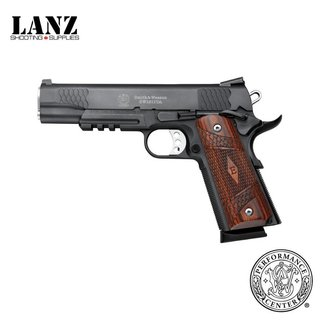 "Smith & Wesson Smith & Wesson 1911TA E Series Semi-Auto Pistol, .45 ACP, 5"" Stainless Barrel, 8 Rounds, Night Sights, Tactical Rail, Wood Laminate Grips, Black Melonite Finish"