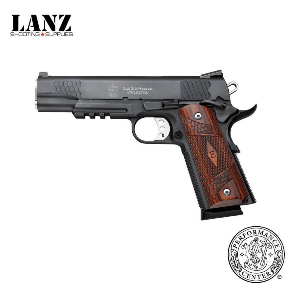 """Smith & Wesson Smith & Wesson 1911TA E Series Semi-Auto Pistol, .45 ACP, 5"""" Stainless Barrel, 8 Rounds, Night Sights, Tactical Rail, Wood Laminate Grips, Black Melonite Finish"""