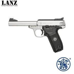 "Smith & Wesson Smith & Wesson SW22 Victory Semi-Auto Rimfire Pistol .22 LR 5.5"" Threaded Barrel 10 Rounds FO Sights Polymer Grips Satin Stainless Steel"