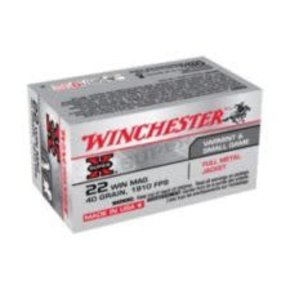 Winchester Winchester Super-X .22 Win Mag 40-Grain Full Metal Jacket Rifle Ammunition