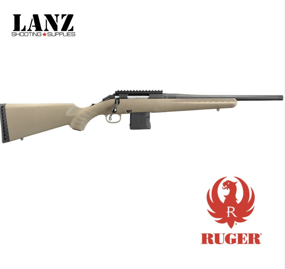 "Ruger Ruger American Ranch Bolt Action Rifle 7.62x39 16"" Threaded Barrel 5 Rounds Synthetic Stock FDE"