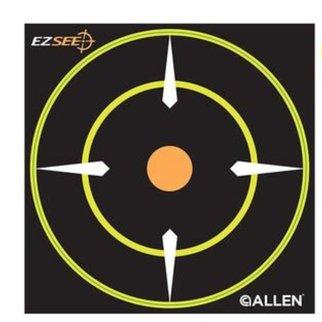 """Allen Allen EZ See Adhesive Bullseye Target, 6"""" x 6"""", Pack of 12"""