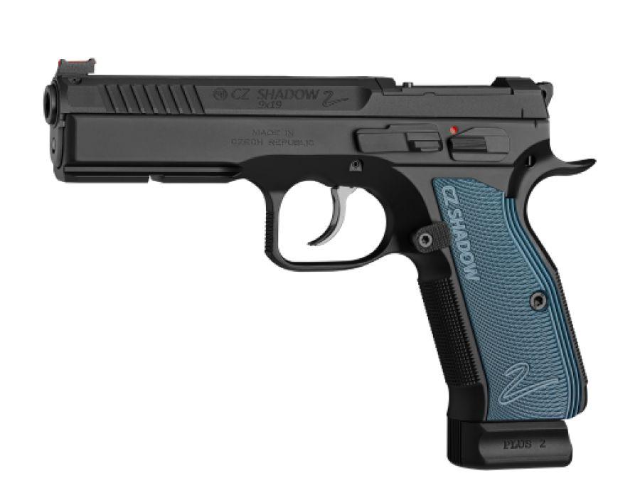 CZ CZ Shadow 2 Optics Ready Semi-Auto Pistol, 9mm, 10 Round, Black w/ Blue Grips
