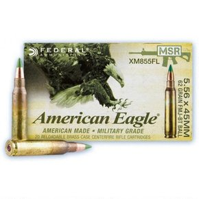 American Eagle Federal American Eagle AR Ammunition 5.56x45mm NATO 55 Grain XM193 Full Metal Jacket Boat Tail Box of 20