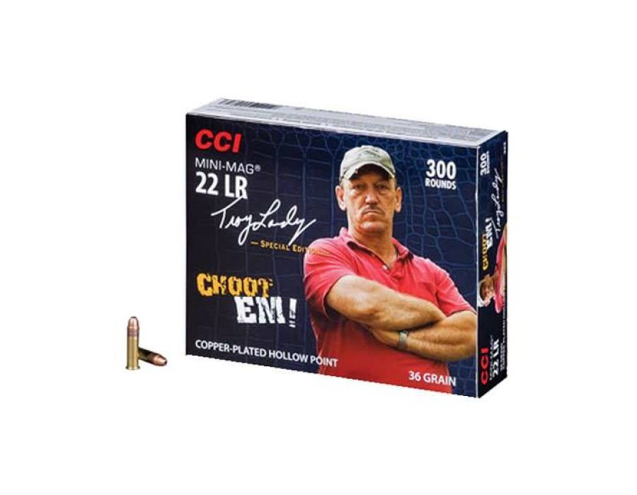 CCI CCI Mini-Mag High Velocity Ammunition, 22 Long Rifle, Troy Landry Swamp People Special Edition, 36 Grain Plated Lead Hollow Point, Box of 300 Rounds