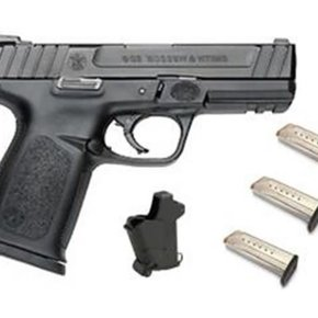 "Smith & Wesson SALE! Smith & Wesson SD9 Range Kit, Semi-Auto Pistol, 9mm, 4.25"" Barrel, Black, 10 Round, 3 Magazines, Lula Magazine Loader"