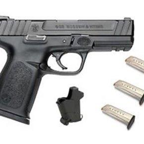 "Smith & Wesson SD9 Range Kit, Semi-Auto Pistol, 9mm, 4.25"" Barrel, Black, 10 Round, 3 Magazines, Lula Magazine Loader"