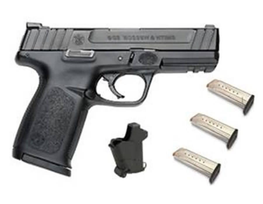 "Smith & Wesson Smith & Wesson SD9 Range Kit, Semi-Auto Pistol, 9mm, 4.25"" Barrel, Black, 10 Round, 3 Magazines, Lula Magazine Loader"