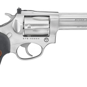 "Ruger Ruger SP101 DA/SA Revolver - 357 Mag, 4.20"", Satin Stainless, Stainless Steel, Black Rubber Engraved Wood Grips, 5rds, Fiber Optic Front & Adjustable Rear Sights"