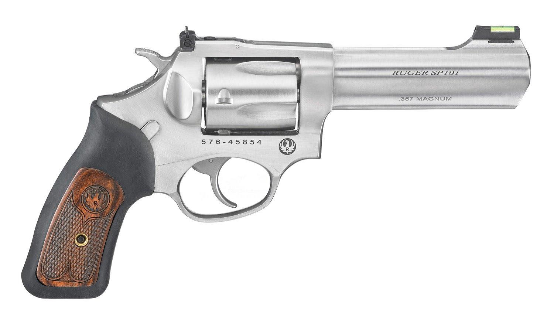 "Ruger Ruger SP101 DA/SA Revolver - 357 Mag, 4.20"", Satin Stainless, Stainless Steel, Black Rubber Engraved Wood Grips, 5rds, Fiber Optic Front & Adjustable Rear Sights"