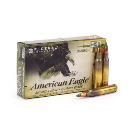 American Eagle Federal American Eagle 5.56 NATO 65 Gr. FMJ BT Ball Green Tip Box of 20