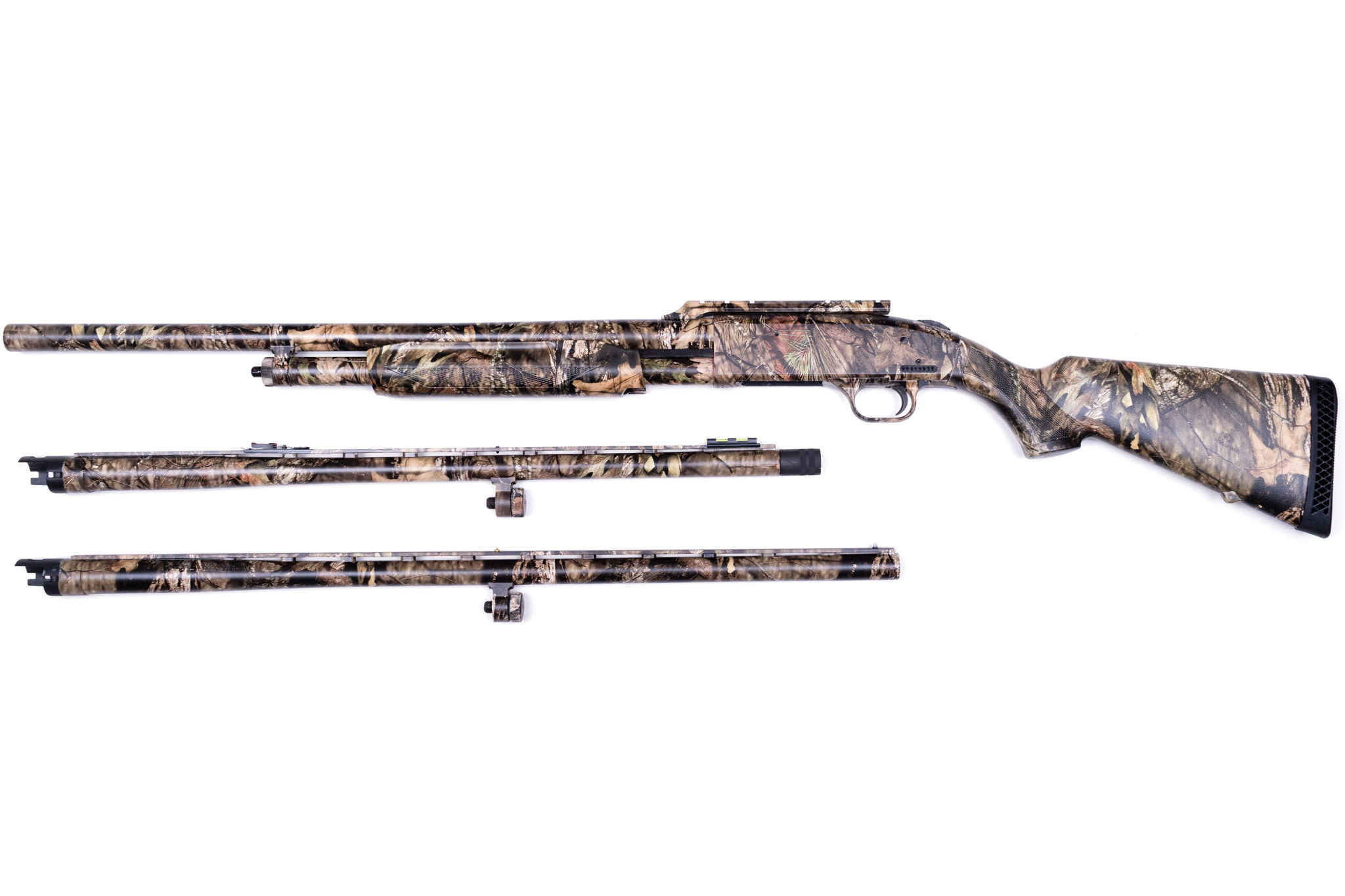 "Mossberg Mossberg 500 3-Barrel Combo, Mossy Oak Break-Up Country Camo, 12 Gauge Pump Action Shotgun, 3"" Chamber, 24"" Rifled, 24"" Ported, 28"" Ported Waterfowl Barrels"